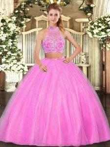 Cute Two Pieces Sweet 16 Quinceanera Dress Hot Pink Halter Top Tulle Sleeveless Floor Length Criss Cross