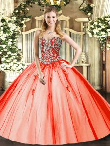 Orange Red Tulle Lace Up Sweet 16 Quinceanera Dress Sleeveless Floor Length Beading and Appliques