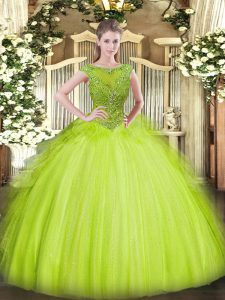 Floor Length Zipper Quinceanera Gown Yellow Green for Sweet 16 and Quinceanera with Beading