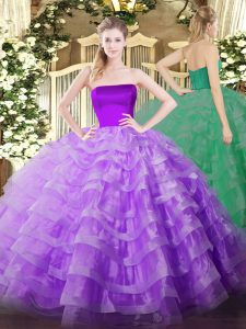 Charming Floor Length Zipper Quince Ball Gowns Lilac for Military Ball and Sweet 16 and Quinceanera with Ruffled Layers
