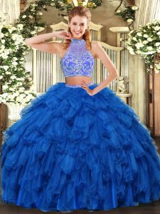Floor Length Royal Blue 15th Birthday Dress Organza Sleeveless Beading and Ruffles