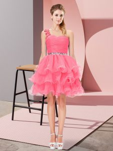 Traditional Organza One Shoulder Sleeveless Lace Up Beading and Ruffled Layers in Watermelon Red