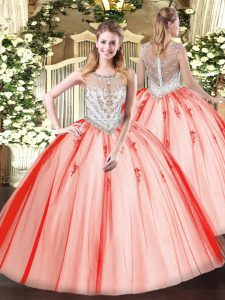 Fashionable Floor Length Ball Gowns Sleeveless Coral Red Quinceanera Dresses Zipper