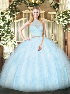 Elegant Light Blue Two Pieces Lace and Ruffles 15 Quinceanera Dress Zipper Tulle Sleeveless Floor Length