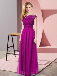 Hot Selling Fuchsia Zipper Prom Gown Lace Sleeveless Floor Length