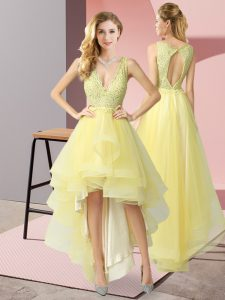 V-neck Sleeveless Tulle Homecoming Dress Beading Backless