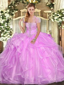 Captivating Sleeveless Appliques and Ruffles Lace Up Ball Gown Prom Dress
