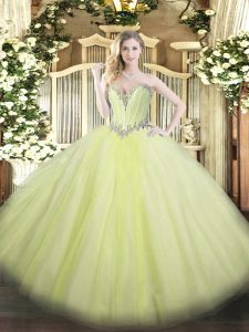 Pretty Yellow Green Sleeveless Beading Floor Length Sweet 16 Dresses