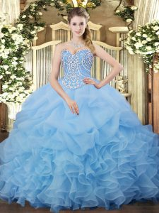 Aqua Blue Sleeveless Floor Length Beading and Ruffles and Pick Ups Lace Up Quinceanera Dresses