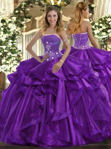 Comfortable Purple Ball Gowns Beading and Ruffles Ball Gown Prom Dress Lace Up Organza Sleeveless Floor Length