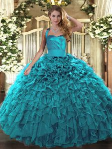 Classical Sleeveless Lace Up Floor Length Ruffles Quinceanera Gown