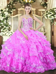 Dramatic Floor Length Lace Up Quinceanera Dress Lilac for Military Ball and Sweet 16 and Quinceanera with Beading and Ruffled Layers