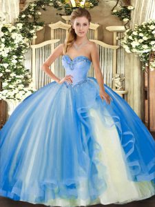 Sexy Baby Blue Ball Gowns Sweetheart Sleeveless Tulle Floor Length Lace Up Beading and Ruffles 15th Birthday Dress