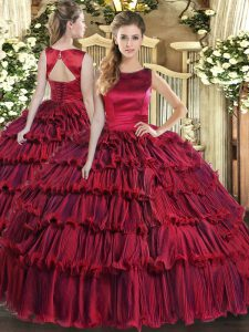 New Style Floor Length Wine Red Ball Gown Prom Dress Scoop Sleeveless Lace Up
