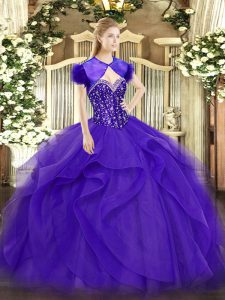 Modern Purple Sleeveless Floor Length Beading and Ruffles Lace Up Quinceanera Gowns