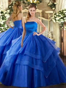 Fine Royal Blue Strapless Neckline Ruffled Layers Quinceanera Gowns Sleeveless Lace Up