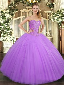 Sweetheart Sleeveless Lace Up Quinceanera Gown Lilac Tulle
