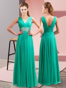 New Arrival Sleeveless Chiffon Floor Length Side Zipper Evening Dress in Turquoise with Beading and Ruching