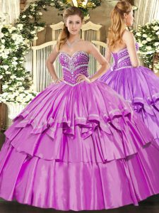 Fancy Floor Length Ball Gowns Sleeveless Lilac Quinceanera Dresses Lace Up