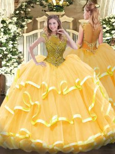 Gold Zipper Scoop Beading and Ruffled Layers Quinceanera Dress Organza Cap Sleeves