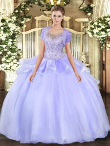 Dynamic Scoop Sleeveless Sweet 16 Quinceanera Dress Floor Length Beading and Ruffles Lavender Organza and Tulle