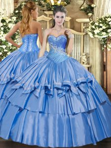 Chic Baby Blue Quinceanera Gown Military Ball and Sweet 16 and Quinceanera with Beading and Ruffles Sweetheart Sleeveless Lace Up