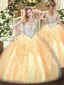 Ball Gowns 15th Birthday Dress Gold Scoop Tulle Sleeveless Floor Length Zipper