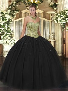 Black Ball Gowns Tulle Sweetheart Sleeveless Beading Floor Length Lace Up Quinceanera Gown