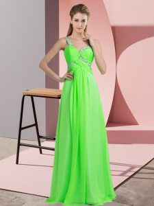 Fine Sleeveless Lace Up Floor Length Beading