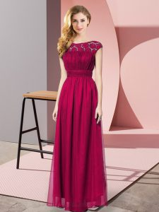 Artistic Strapless Sleeveless Homecoming Dress Floor Length Lace Fuchsia Chiffon