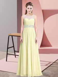 Custom Made Light Yellow Sleeveless Chiffon Zipper Prom Evening Gown for Prom and Party