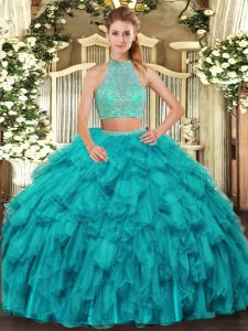 Turquoise Organza Criss Cross Halter Top Sleeveless Floor Length 15 Quinceanera Dress Beading and Ruffles