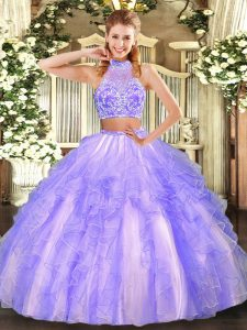 Tulle Sleeveless Floor Length Quinceanera Gown and Beading and Ruffled Layers