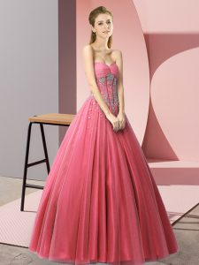 Affordable Sleeveless Tulle Floor Length Lace Up Prom Dresses in Coral Red with Beading