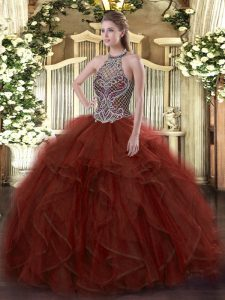 Sleeveless Organza Floor Length Lace Up 15 Quinceanera Dress in Rust Red with Beading and Ruffles