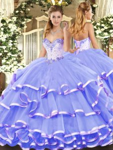 Floor Length Ball Gowns Sleeveless Lavender Vestidos de Quinceanera Lace Up