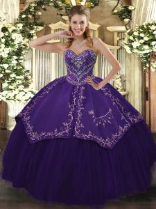 Customized Floor Length Purple Quince Ball Gowns Taffeta and Tulle Sleeveless Pattern