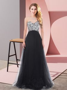 Fancy Beading Prom Evening Gown Black Lace Up Sleeveless Floor Length