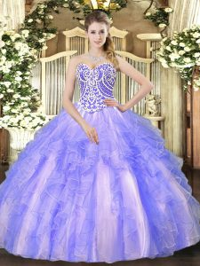 Pretty Lavender Ball Gowns Tulle Sweetheart Sleeveless Beading and Ruffles High Low Lace Up Sweet 16 Dresses