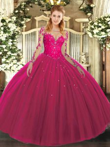 Smart Hot Pink Lace Up Scoop Lace Quince Ball Gowns Tulle Long Sleeves