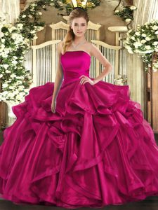Floor Length Ball Gowns Sleeveless Hot Pink Sweet 16 Dress Lace Up