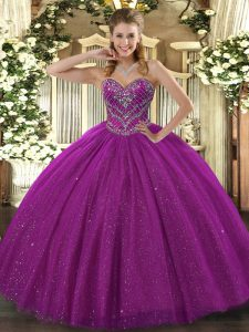 Custom Fit Ball Gowns 15 Quinceanera Dress Fuchsia Sweetheart Lace Sleeveless Floor Length Lace Up