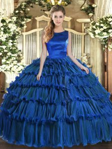 Fashionable Royal Blue Lace Up Quinceanera Dresses Ruffled Layers Sleeveless Floor Length