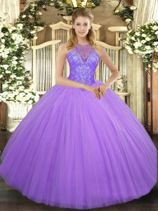 Custom Designed Lavender Tulle Lace Up High-neck Sleeveless Floor Length Quinceanera Dress Beading
