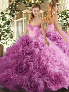 Best Rose Pink Sweetheart Lace Up Beading Quinceanera Dress Sleeveless