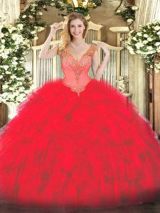 Floor Length Red 15th Birthday Dress V-neck Sleeveless Lace Up