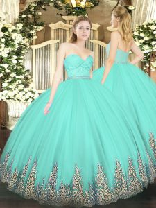 Suitable Floor Length Apple Green 15th Birthday Dress Sweetheart Sleeveless Zipper