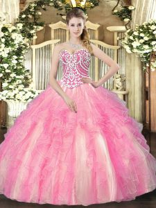 Rose Pink Ball Gowns Beading and Ruffles Sweet 16 Dress Lace Up Tulle Sleeveless Floor Length