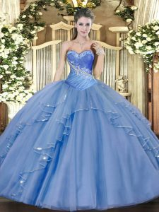 Traditional Ball Gowns 15 Quinceanera Dress Aqua Blue Sweetheart Tulle Sleeveless Floor Length Lace Up