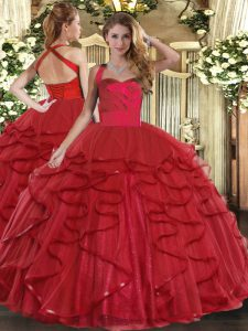 Excellent Floor Length Ball Gowns Sleeveless Wine Red Quince Ball Gowns Lace Up